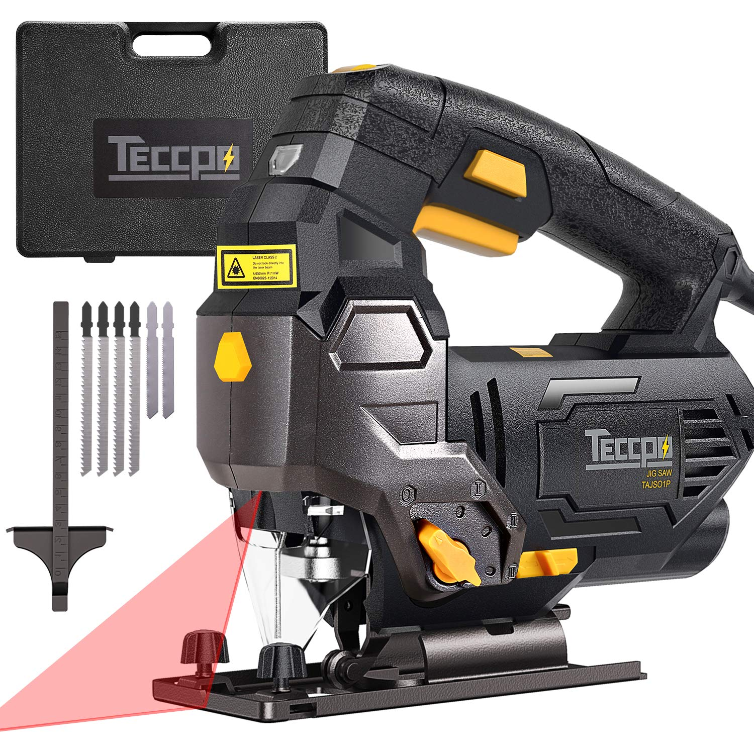 Jigsaw, TECCPO Professional Jig Saw with Laser Guide, 6pcs Blades, Carrying Case,78.74 Inches Cord, Scale Ruler, Bevel Cutting Angle -45 -45 , Variable Speed Dial, 3000SPM, Pure Copper Motor -TAJS01P