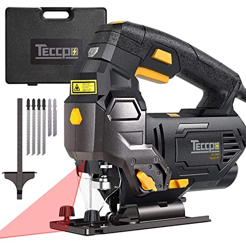 Jigsaw, TECCPO Professional 3000 SPM Jig Saw with Laser Guide, 6pcs Blades, Carrying Case, Scale Ruler, Bevel Cutting Angle -45 -45 , Variable Speed Dial, Pure Copper Motor -TAJS01P
