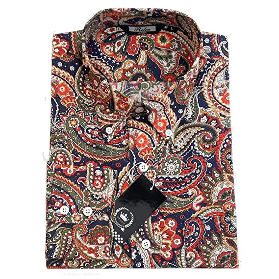 8a4aa09850c Relco Mens Navy Blue Paisley Cotton Shirt NEW Long Sleeved Button Down  Collar (X-Large)  Amazon.co.uk  Clothing