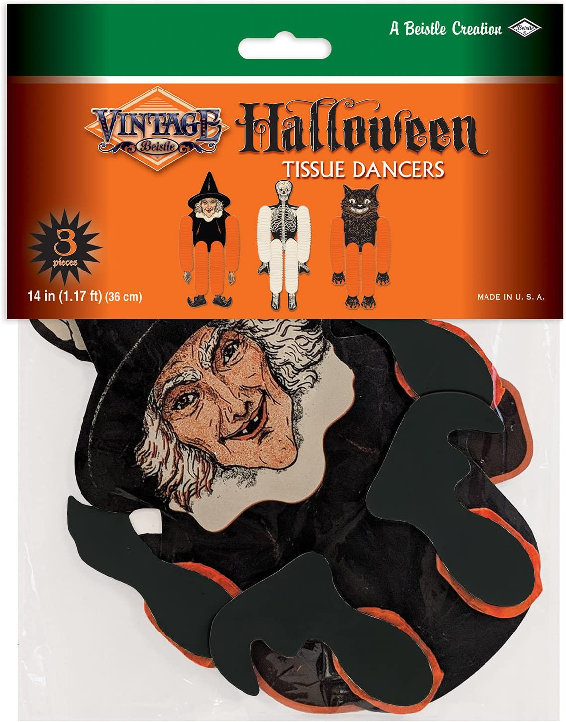 Multicolored 14 Beistle 00430 Vintage Halloween Tissue Dancers 3 Piece