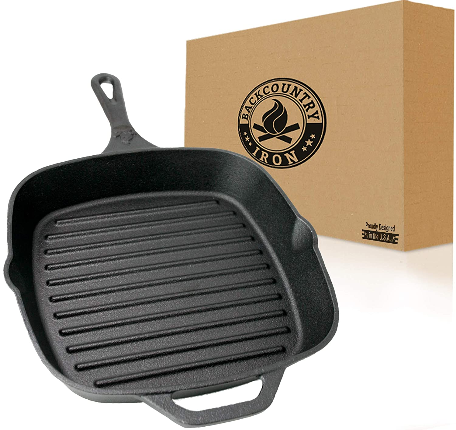 "Backcountry Cast Iron 10"" Medium Square Grill Pan (Pre-Seasoned for Non-Stick Like Surface, Cookware Range/Oven/Broiler/Grill Safe, Kitchen Skillet Restaurant Chef Quality)"