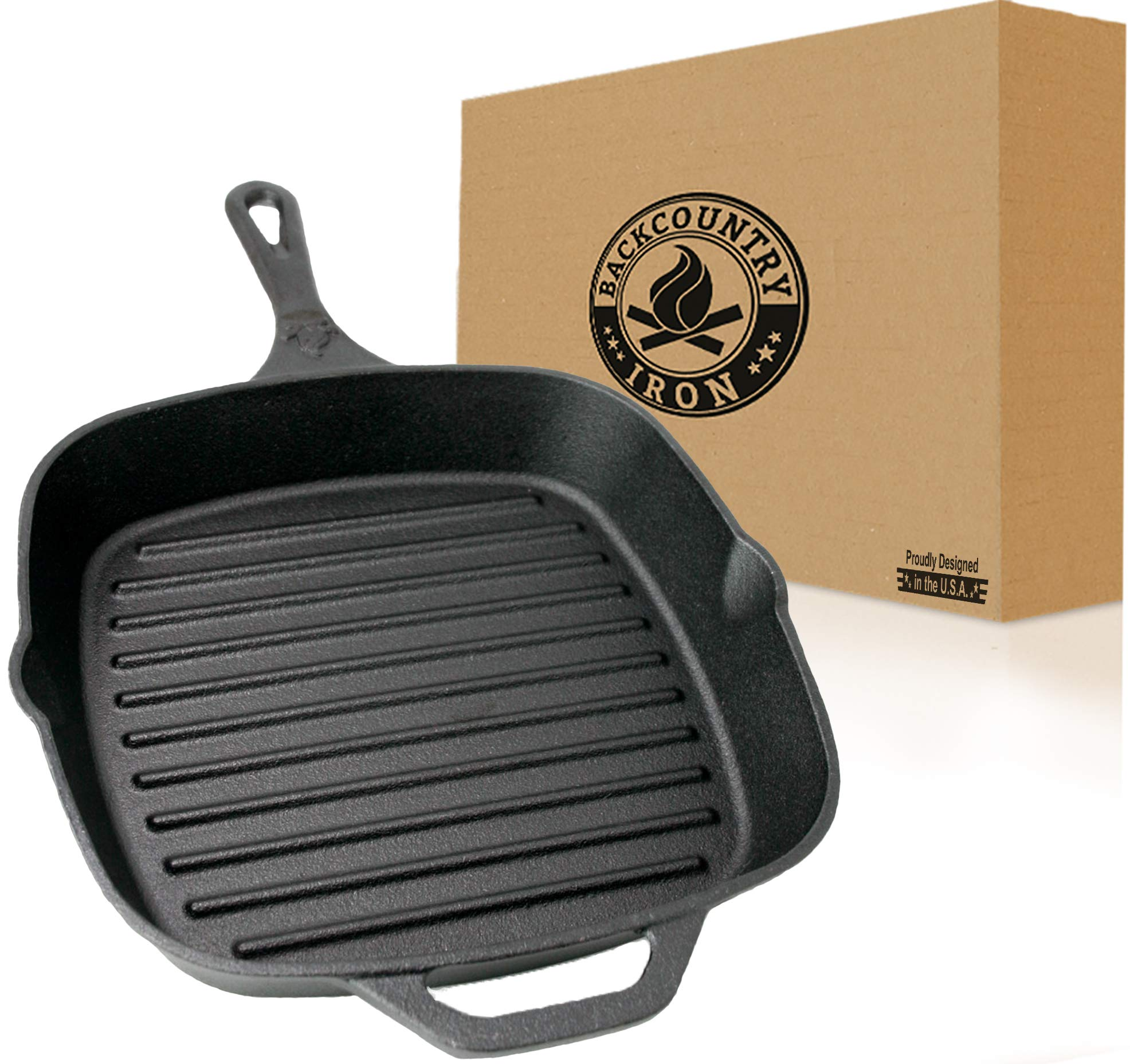 Backcountry Cast Iron 12'' Large Square Grill Pan (Pre-Seasoned for Non-Stick Like Surface, Cookware Range/Oven/Broiler/Grill Safe, Kitchen Skillet Restaurant Chef Quality)