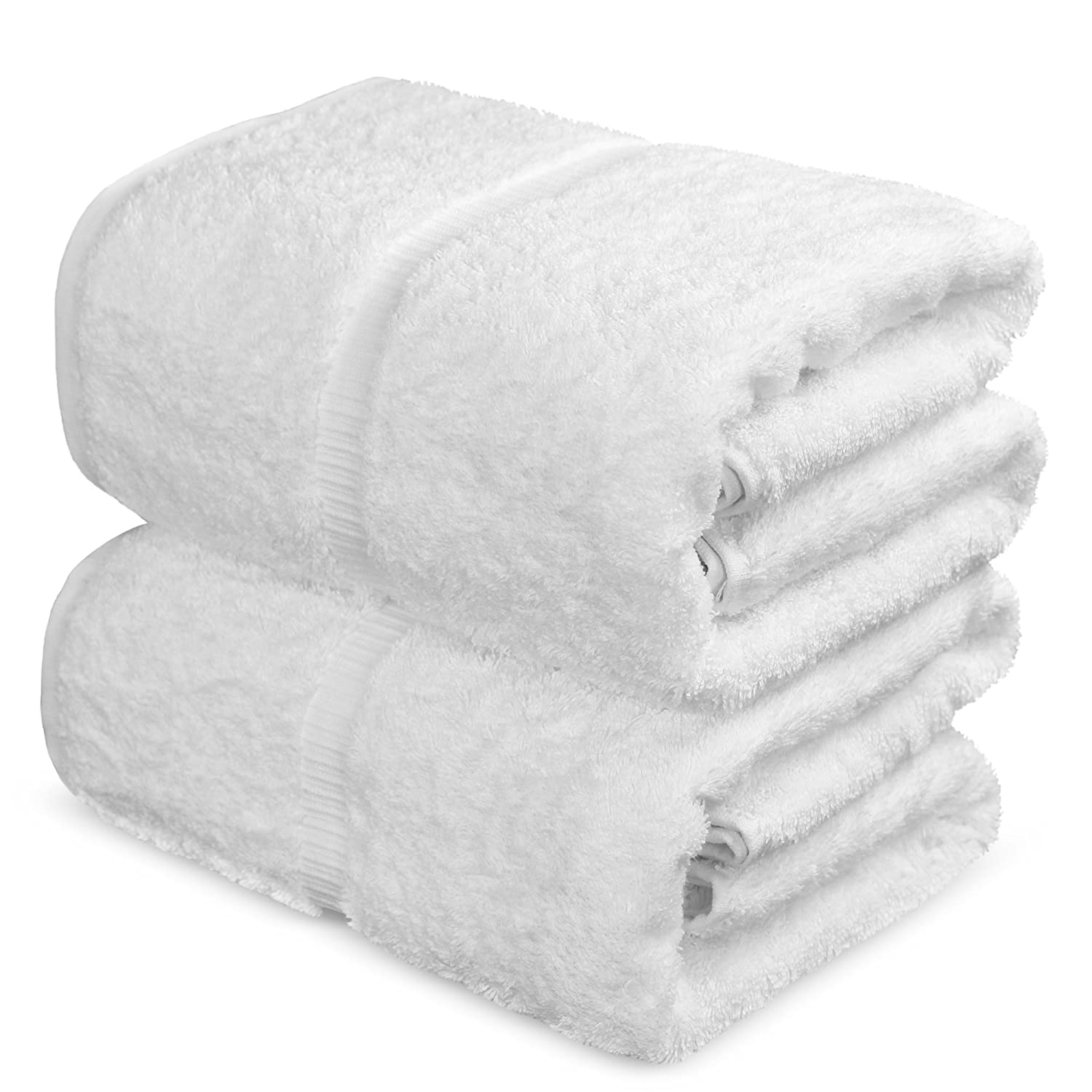 Towel Bazaar 100% Turkish Cotton Bath Sheets, 700 GSM, 35 x 70 Inch, Eco-Friendly (2 Pack, White)