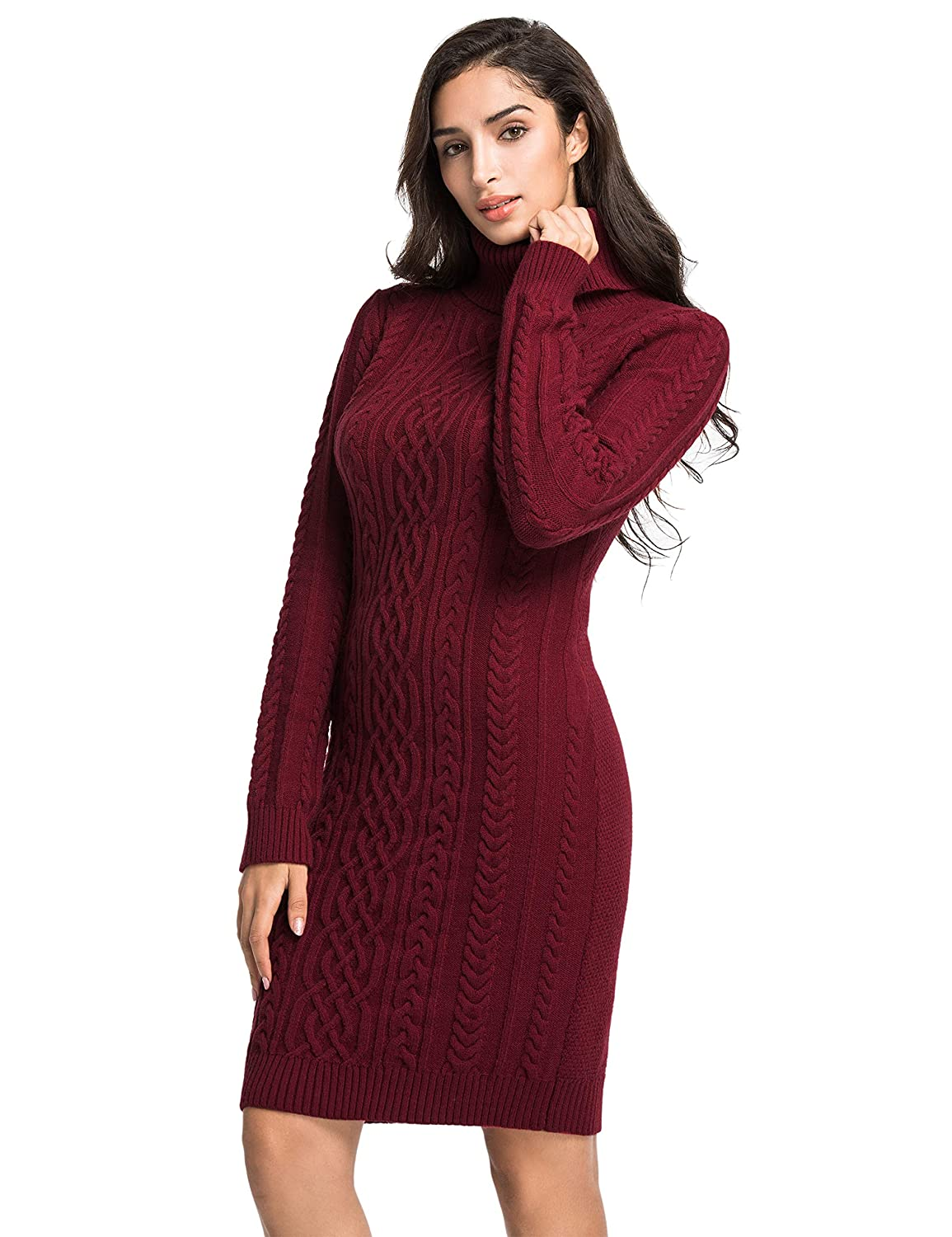 576e29c987f PrettyGuide Women s Sweater Dress Cable Knit Slim Fit Turtleneck Sweater at  Amazon Women s Clothing store