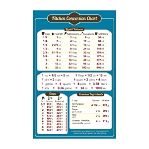 """Magnetic Kitchen Conversion Chart - 5.5"""" x 8.5"""" - Convenient Table Of Key Measurement Conversions for Cooking"""