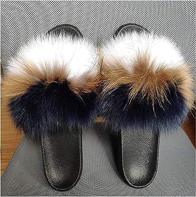 Fur Slippers Real Fox Fur Slides