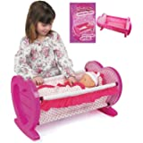 Girls Dolls Rocking Baby Cradle / Crib Cot Bed With Bedding Toy Play Set Gift Xmas