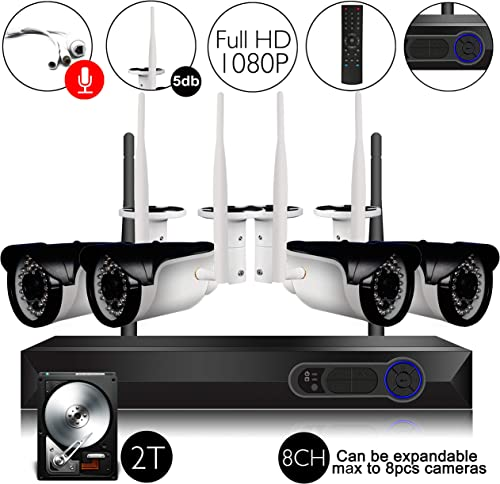 CAMVIEW Wireless Security Home Surveillance System 8CH 1080P WiFi NVR Kits 4Pcs 2.0MP Wireless IP CCTV Cameras, Audio-in Plug, 65FT Night Vision, Half-Stream, 2TB HDD Pre-Installed