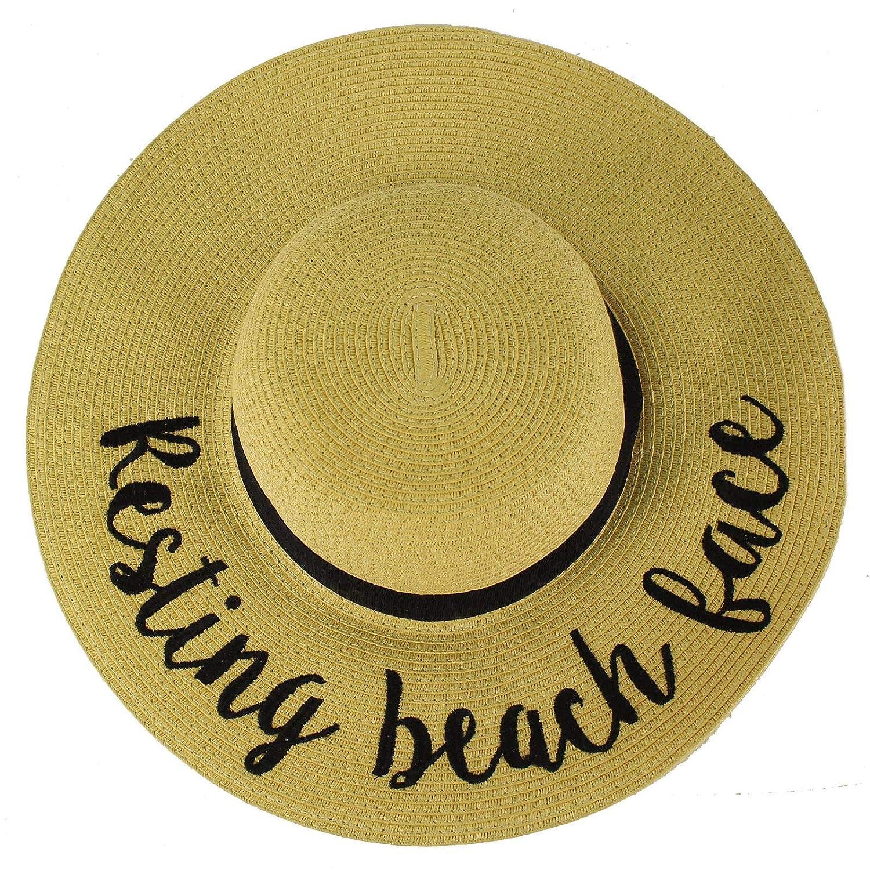 "C.C Fun Verbiage Elegant Wide Brim 4"" Summer Derby Beach Pool Floppy Dress Sun Hat"
