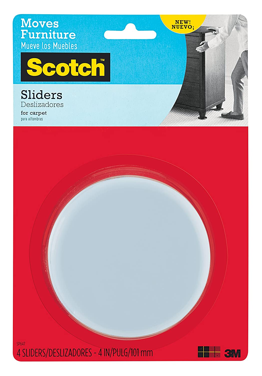 Scotch Reusable Sliders, Gray/Black, 4-Inch Diameter, 4 Sliders/Pack (SP647-NA) 3M Office Products