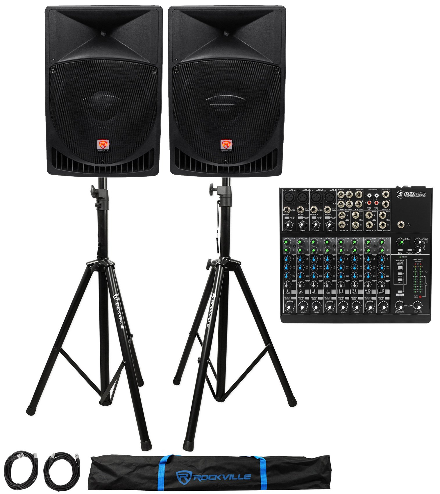 Mackie 1202VLZ4 12-ch Analog Mixer w/4-Preamps+(2) Powered 15'' Speakers+Stands