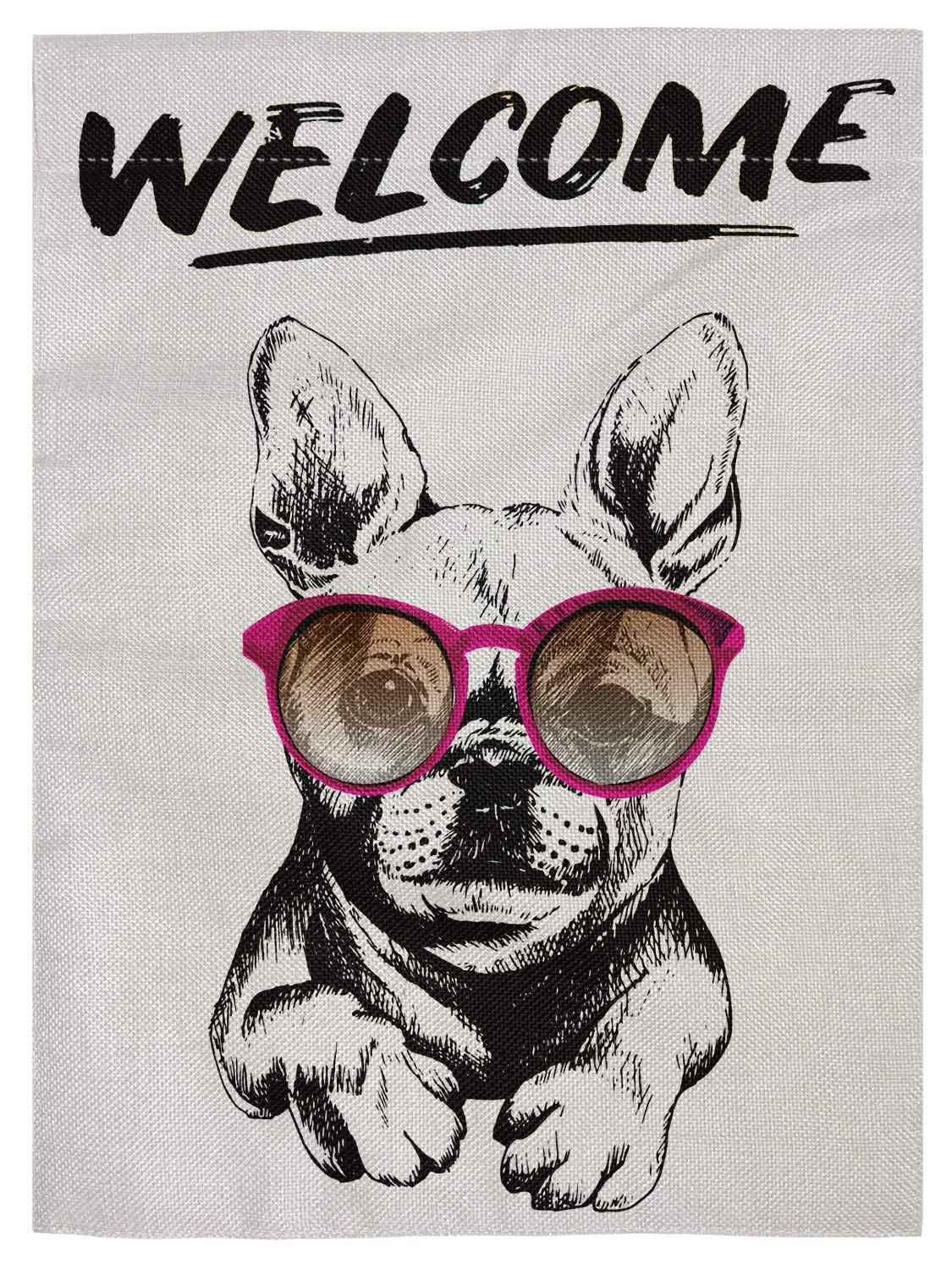 "pingpi Welcome French Bulldog Wearing The Sunglasses Double Sided Burlap Garden Flag 12.5""x18"""