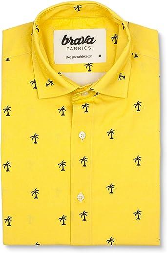 Brava Fabrics | Camisa Hombre Manga Corta Estampada | Camisa Amarilla para Hombre | Camisa Casual Regular Fit | 100% Algodón | Modelo Coconut Palm | Talla 3XL: Amazon.es: Ropa y accesorios
