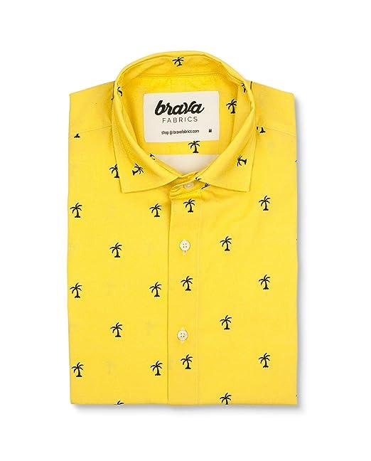 Brava Fabrics, Camisa Estampada Amarilla Manga Corta, Modelo Coconut Palm Talla S