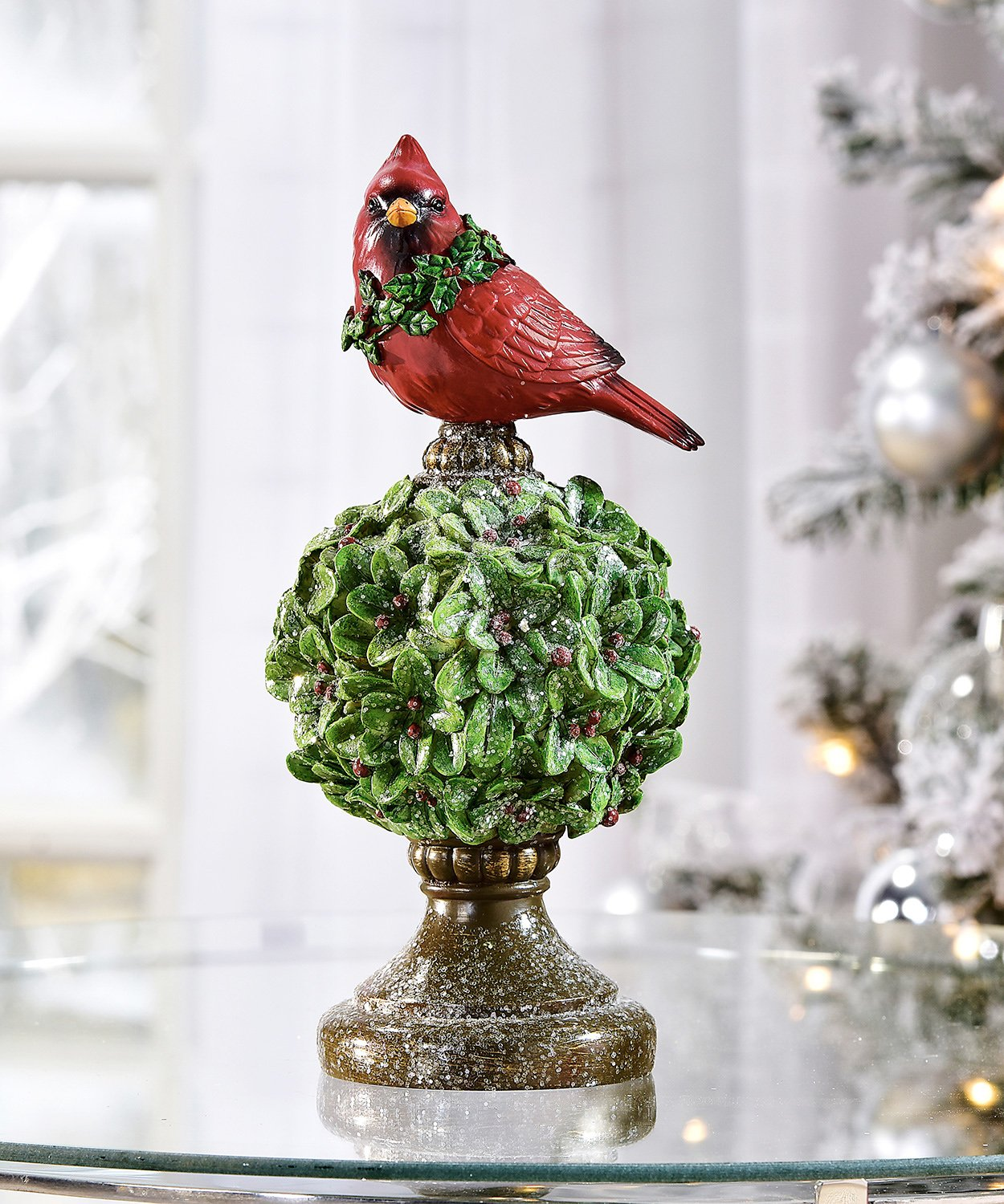 Gift Craft Red Cardinal On Topiary 5 X 10 Inch Resin Polystone Christmas Tabletop Figurine Collectible Figurines Home Kitchen