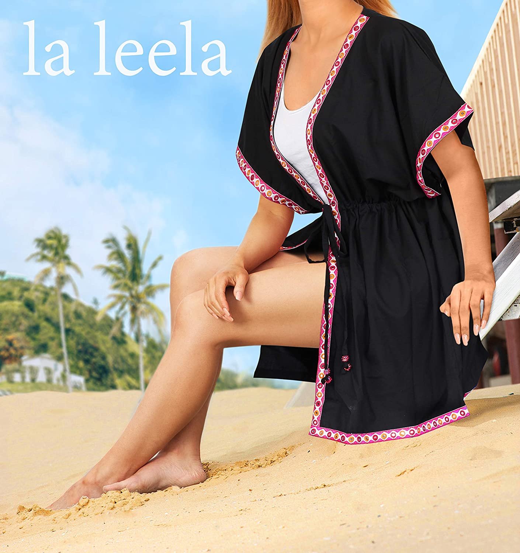 LA LEELA Womens Kimono Cardigan Blouse Beach Cover up Open Front Solid Plain