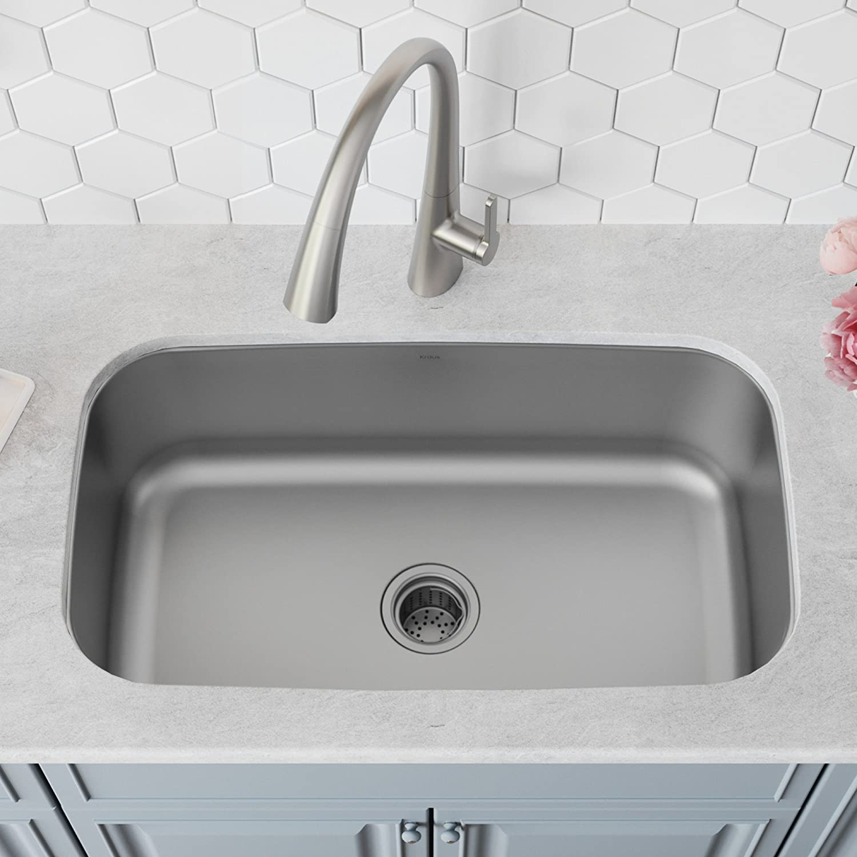 Kraus KEU-14WHITE Pintura 16 Gauge Undermount Single Bowl Enameled Stainless Steel Kitchen Sink 31 1//2-inch White