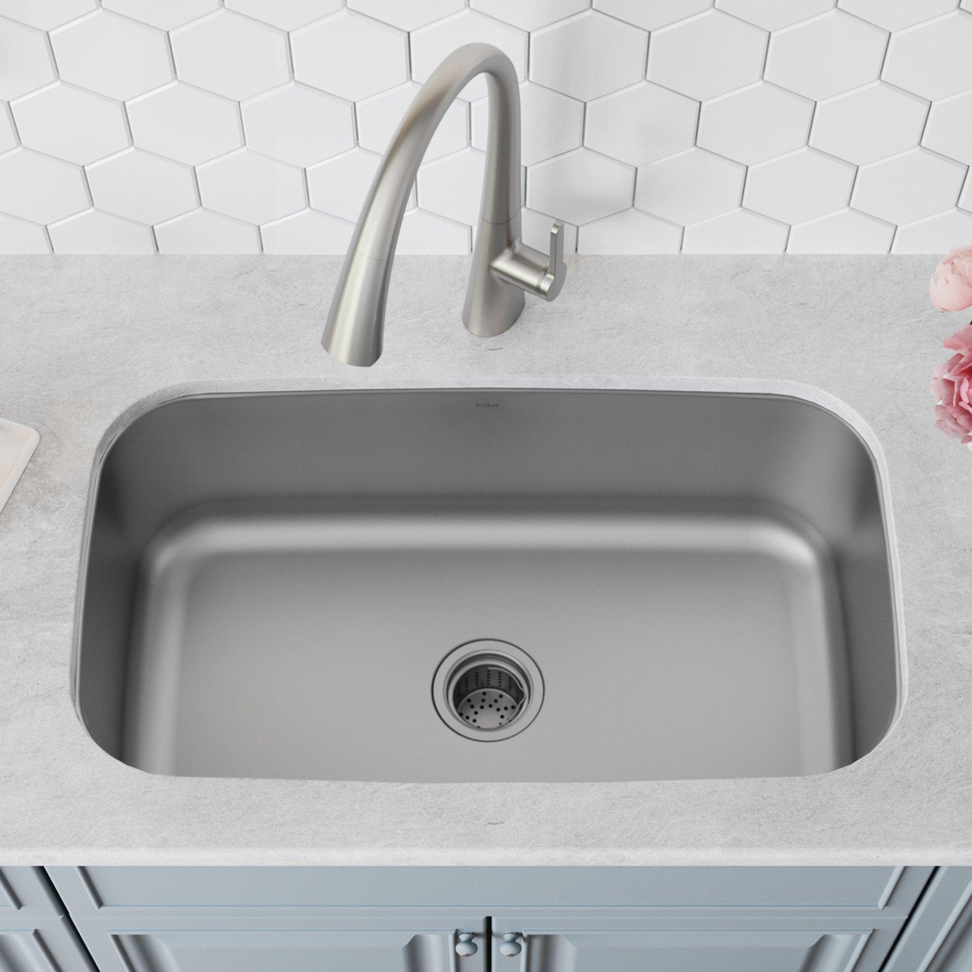 Kraus KBU14 31-1/2 inch Undermount Single Bowl 16-gauge Stainless Steel Kitchen Sink by Kraus (Image #2)