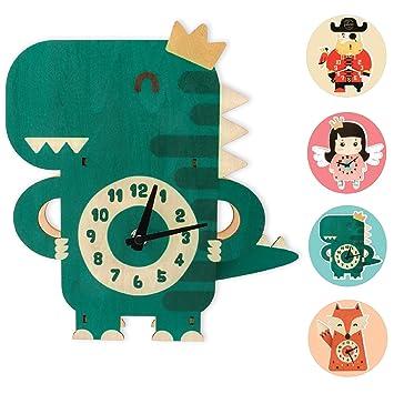GLÜCKSWOLKE Kinderwanduhr Holz I Uhrzeit Lernen Kinder I Wanduhr Ohne  Ticken I Uhr für Kinderzimmer Junge I Dinosaurier Kinderuhr 3D Motiv I  Wand-Deko ...