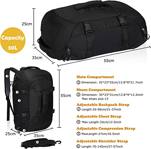 Travel Max Gym Sports Duffel Backpack, 30L Lightweight Weekender Workout Overnight Swim Outdoor Luggage Organize Casual Tote Bag with Shoes Compartment, Fit for Men Women Athletic Black