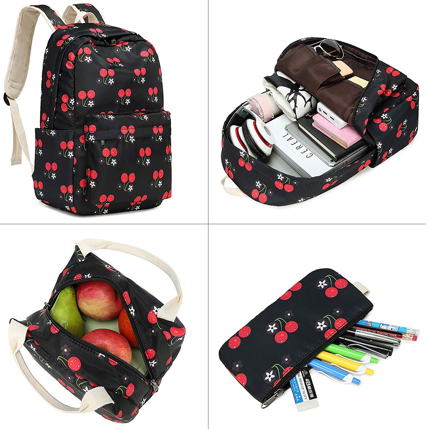 School Backpack for Girl, Causal Book Bag for Teens, Lightweight Travel Backpack with Lunch Bag, 15.6 inch Laptop Bag - Cute Cherry Bag by FLYMEI (Image #2)