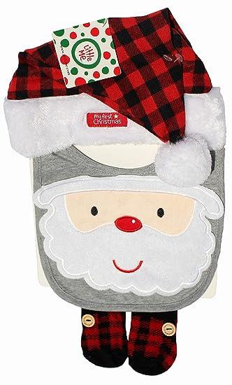 Amazon.com  My First Christmas Santa Bib Hat Sock Booties - Buffalo Plaid   Baby f35374ba395