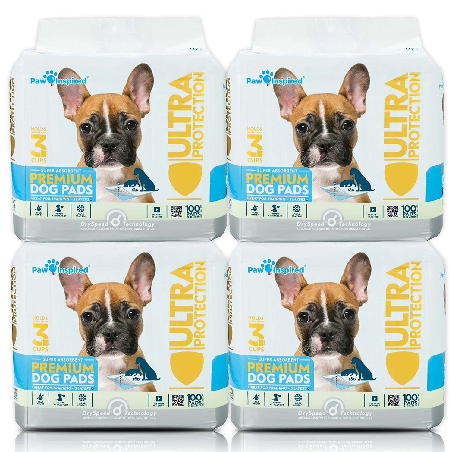 400 Count 400ct Paw Inspired Pet Training and Puppy Pads Ultra Predection Bulk