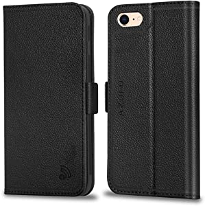 AZOFO Wallet Case for New iPhone SE 2020 (2nd Generation) / iPhone 8 / iPhone 7, Genuine Cowhide Leather Folio Protecive Flip Book Folding Cover with Card Holder, Magnetic Clousure, Kickstand, Black