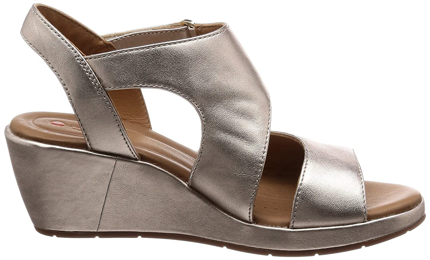 ac7912cd13ac Clarks Womens Gold Leather  Un Plaza Sling  Mid Wedge Heel Sandals  Amazon. co.uk  Shoes   Bags