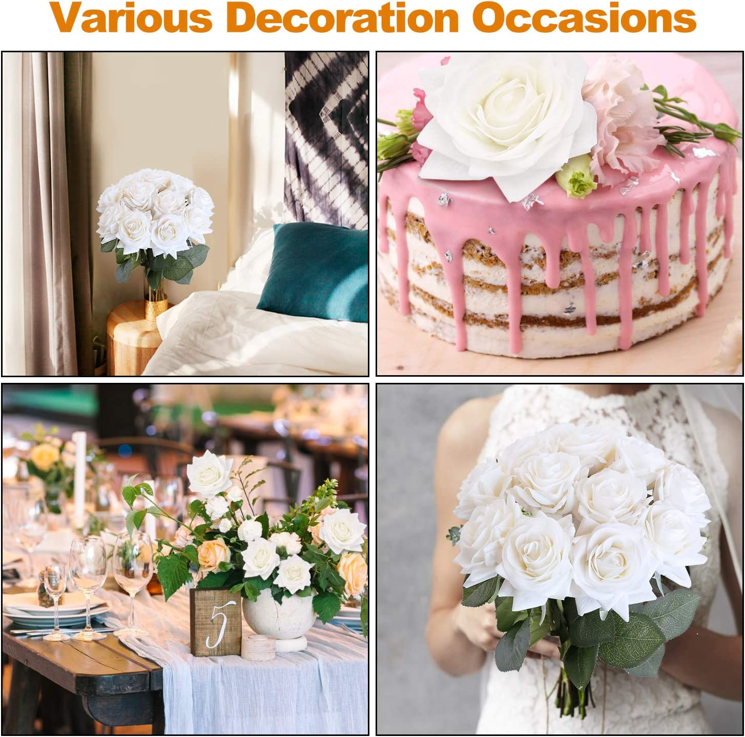 Party and Home Decoration Champagne 12pcs Real Touch Silk Rose Flowers DIY for Wedding DIGIROOT Artificial Flowers Fake Rose