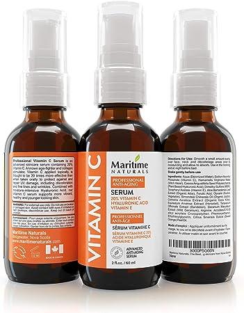 Suero de vitamina C 20% de Maritime Naturals – Sérum Ácido Hiaulurónico – Sérum Antiedad y Antiarrugas – Certificado Orgánico – Bote GRANDE de 60ml