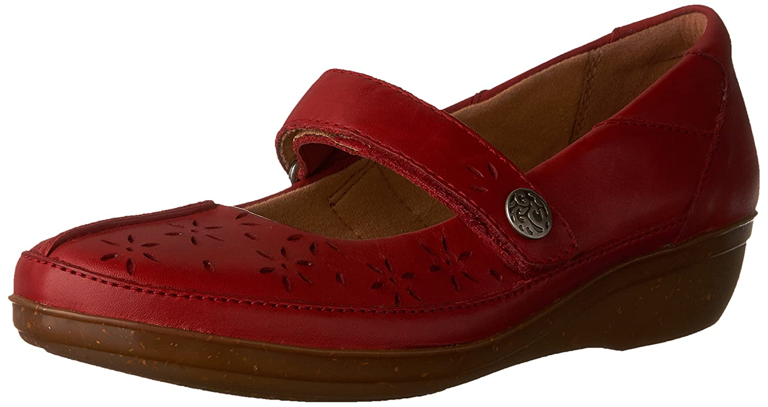 CLARKS Women's Everlay Bai Mary Jane Flat B01FVT1V5M 7 W US|Red Leather