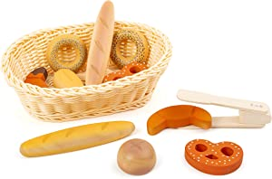small foot wooden toys Children's 12 Piece Bread Basket Playset Designed for Children Ages 3+ Years