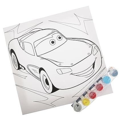 Disney Cars Childrens Kids Official Paint Your Own Canvas Art Set 29cm X 29cm White Black