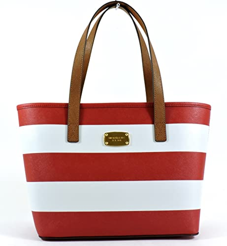 499d9be7e74d Michael Kors Jet Set Saffiano Leather Small Trave Stripe Tote Red White