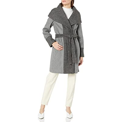 Calvin Klein Women's Wool Wrap Coat with Detachable Belt and Oversized Collar: Clothing