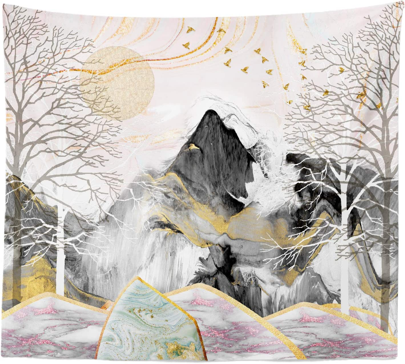"""iLiveX Tapestry, Mountain Wall Hanging Tapestries, Nature Home Decorations for Living Room Bedroom Dining Room Dorm, Golden Sun Tree(50"""" x 60"""")"""
