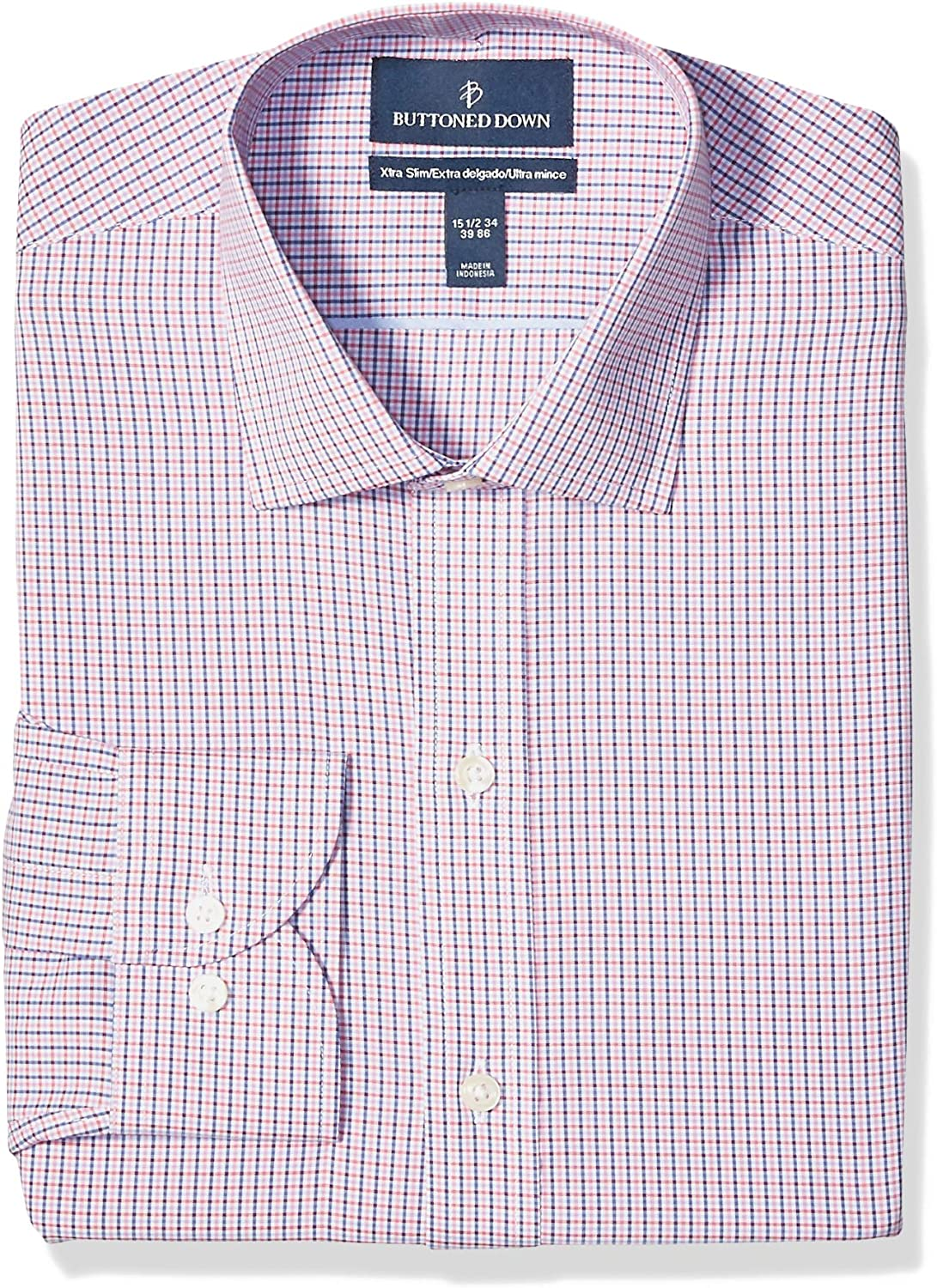Marchio Buttoned Down Xtra-Slim Fit Pattern Non-Iron Dress Shirt Uomo
