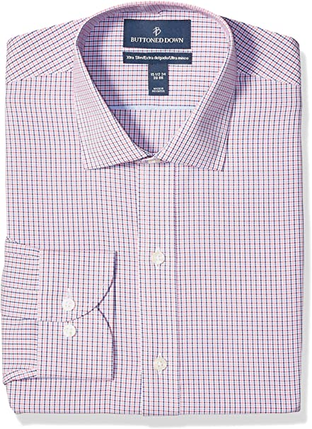 Marca Amazon - Buttoned Down Xtra-Slim Fit Pattern Non-Iron Dress Shirt Hombre