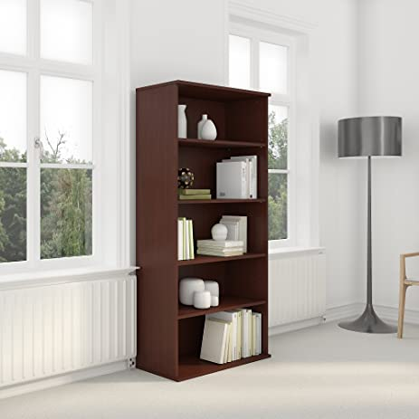 bush business furniture 72h 5 shelf bookcase in hansen cherry