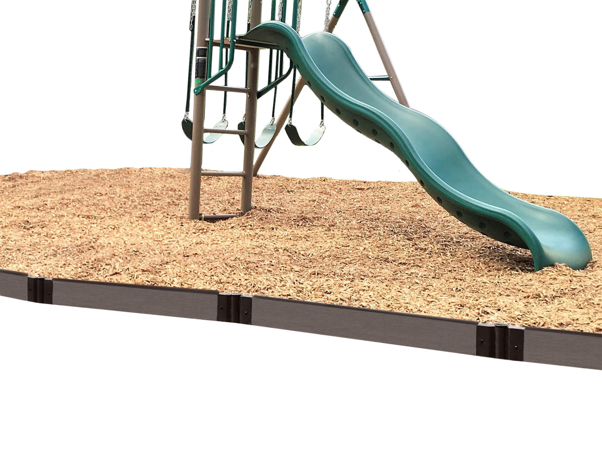 Frame It All 300001445 Weathered Wood Straight Playground Border 16' -1'' Profile, Gray