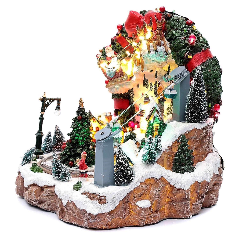 945631b1547 Holyart Escena de Navidad con Luces y Tren en Movimiento 30x30x25 cm   Amazon.es  Hogar