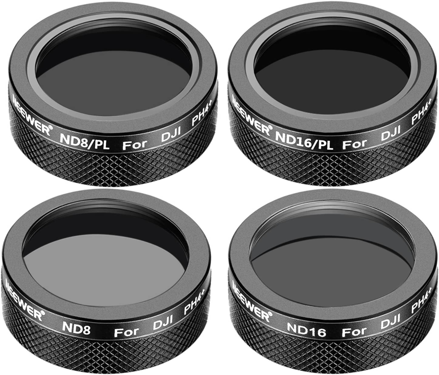 Made of Optical Glass and Aluminum Alloy Frame Neewer 4 Pieces Multi-Coated Filter Kit for DJI Phantom 4 Pro Drone Quadcopter ND16 ND8//PL and ND16//PL Filters Black Includes: ND8