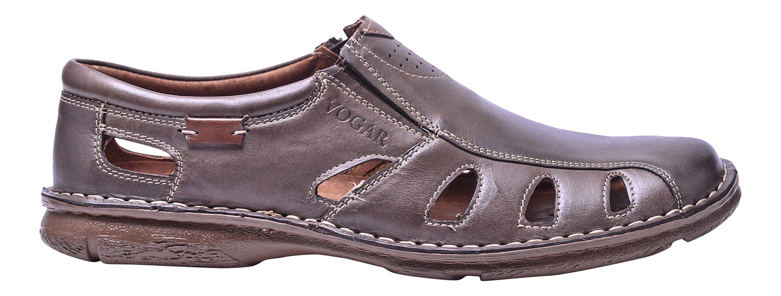 Vogar Men's Sandals Summer Flat Leather Slip On Shoes VG4910 Brown 11.5 US