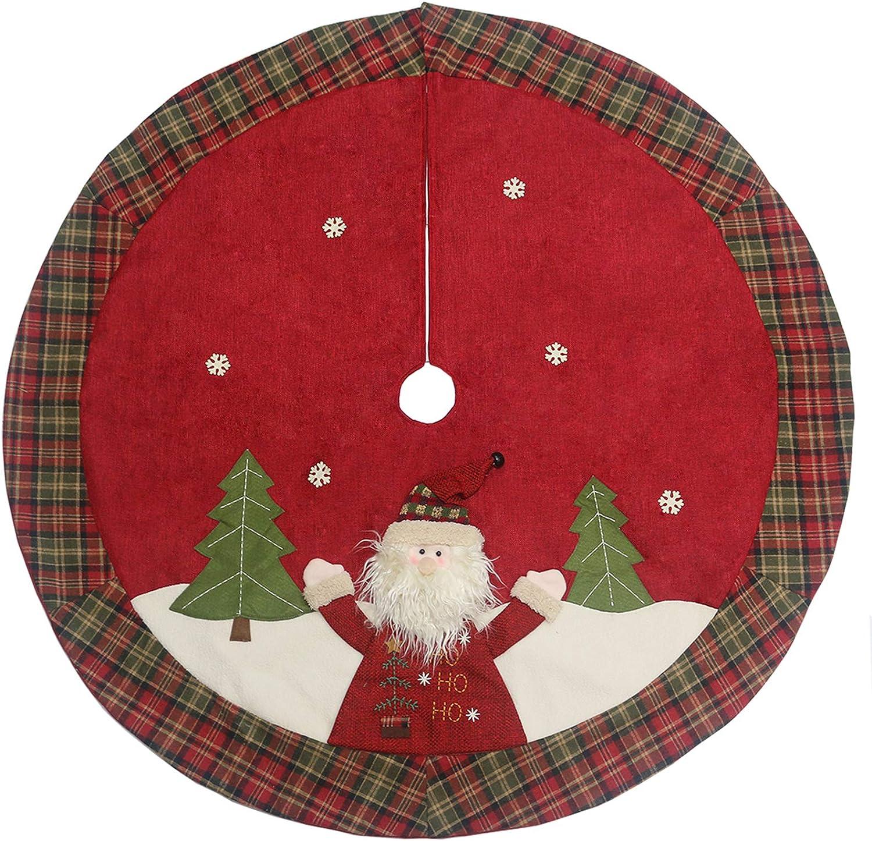 "Sunnyglade 48"" Christmas Tree Skirt Double-Layer Design Santa Pattern Burlap Christmas Tree Skirt with Buffalo Plaid Edges for Xmas Holiday Decorations (Plaid)"