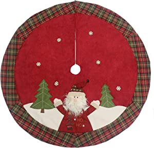 "Sunnyglade 48"" Christmas Tree Skirt Double-Layer Design Santa Pattern Burlap Christmas Tree Skirt with Buffalo Plaid Edges for Xmas Holiday Decorations (Plaid)"