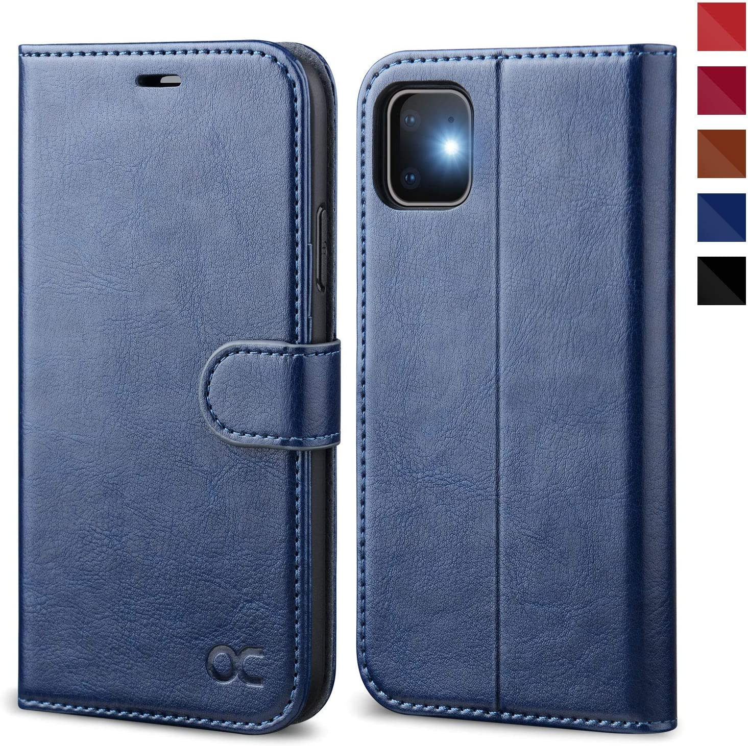 OCASE iPhone 11 Case, iPhone 11 Wallet Case with Card Holder, PU Leather Flip Case with Kickstand and Magnetic Closure, TPU Shockproof Interior Protective Cover for iPhone 11 6.1 Inch (Blue)
