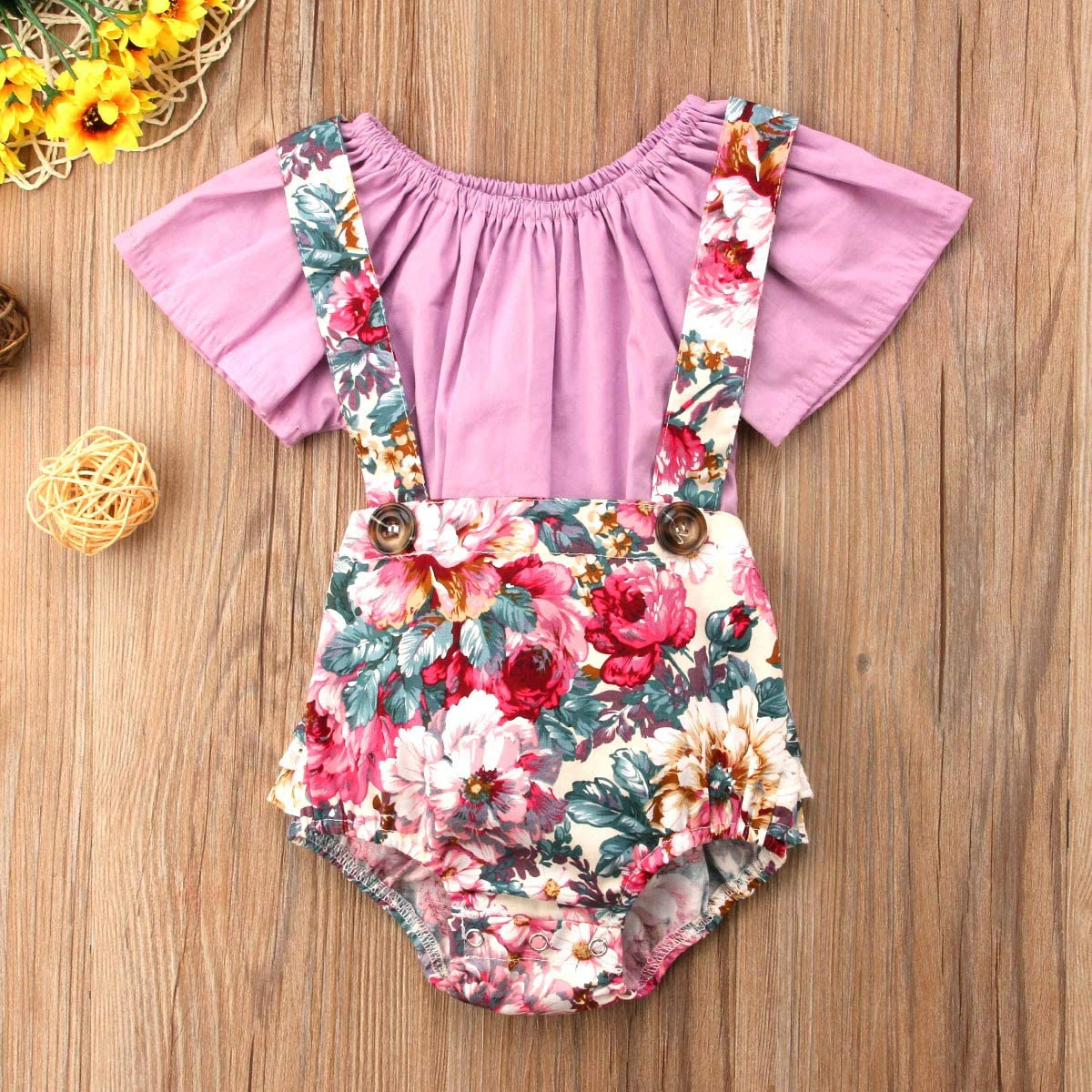 Ruffle Short Sleeve Top Outfit Clothes 2PCS Newborn Toddler Baby Girl Floral Suspender Shorts Bottom