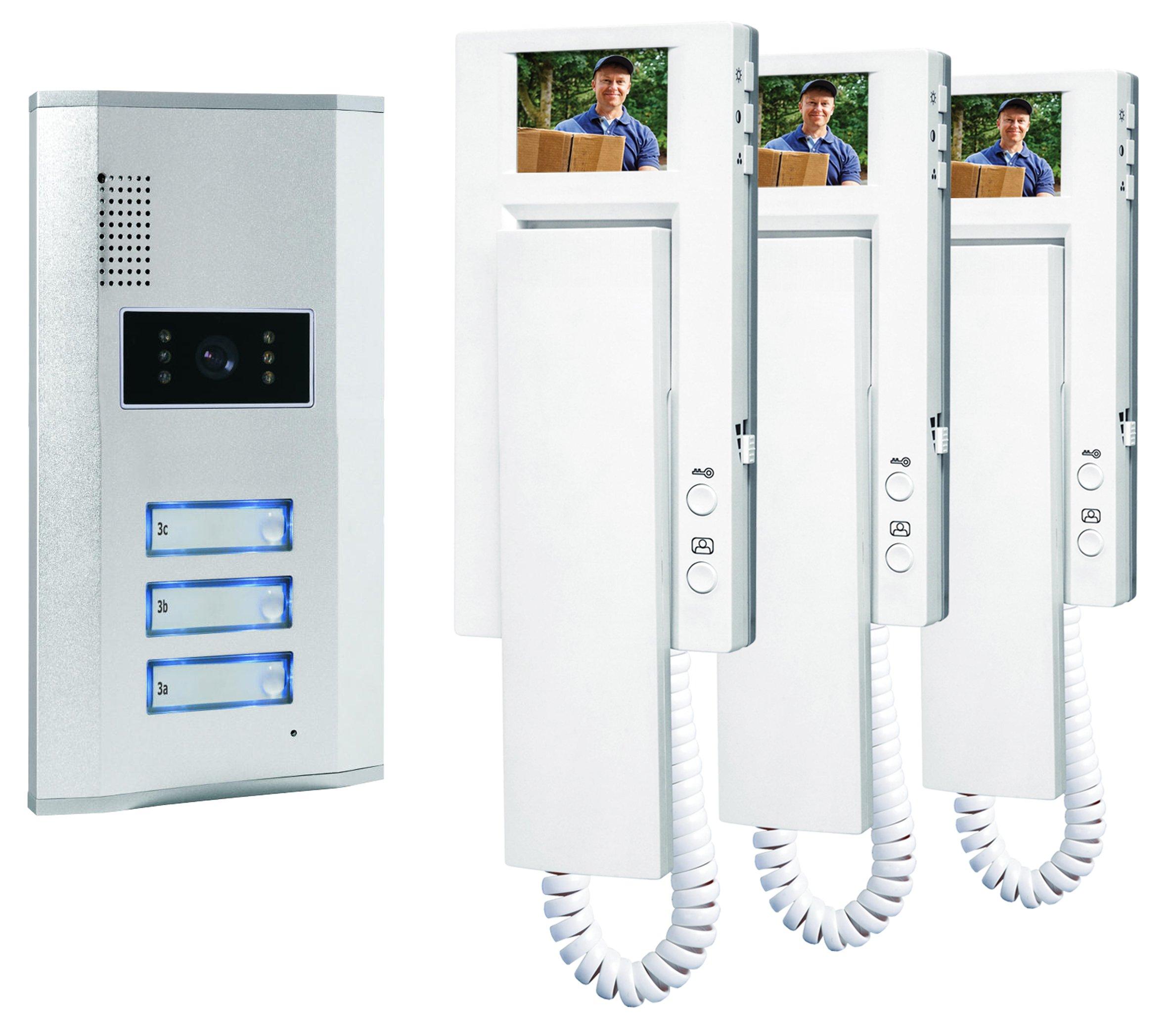 Smartwares VD63 SW 10.007.56 Portier vidéo couleur/Visiophone/Interphone vidéo 3 combinés product image