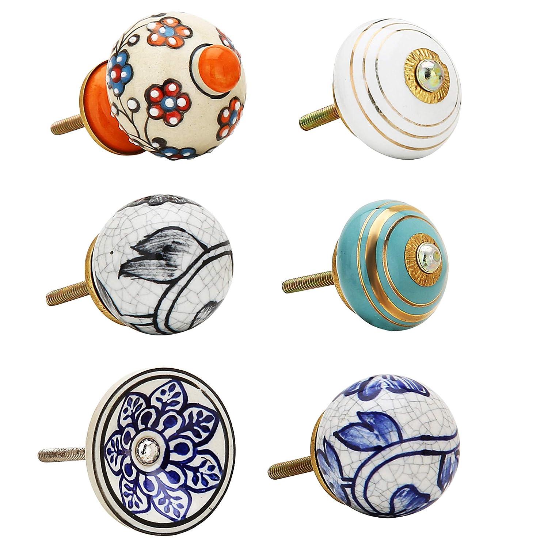 Paquete de 10 Piezas Pomo Manija de Acero de Laton Manija de la Ceramica Azul Flor Hecho a Mano Decoracion Hardware Perillas Decorativas Multicolores para Gabinetes Florales